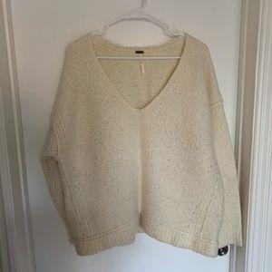 Free People Knit V-Neck Oversized Sweater
